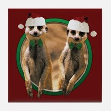 Meerkat Christmas Tile Coaster
