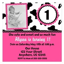 Cow Print Birthday Invite Invitations