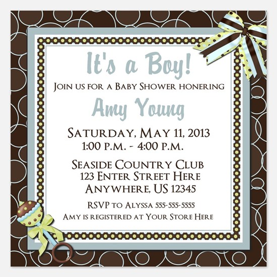 Brown Blue Dot Baby Shower Invite Invitations