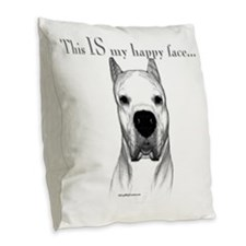 Dogo Happy Face dark Burlap Throw Pillow