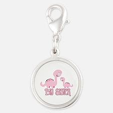Pink Dinos Big Sister Silver Round Charm
