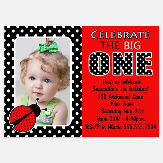 Cute Red Ladybug First Birthday Photo Invite Invit
