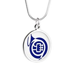 French horn stylized blue Necklaces