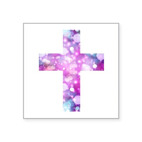 "Cross Square Sticker 3"" x 3"""
