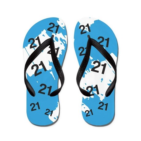 BLUE 21 years old - 21st Birthday Flip Flops