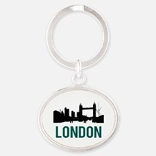 London (green) Oval Keychain