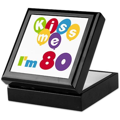 Kiss Me I'm 80 Keepsake Box
