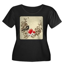 Bird with Butterflies and Flowers Plus Size T-Shir