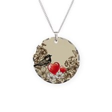 Bird with Butterflies and Flowers Necklace