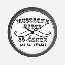 Mustache Rides No Fat Chicks Wall Clock