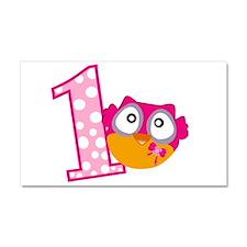 Cute Pink Owl Car Magnet 20 x 12