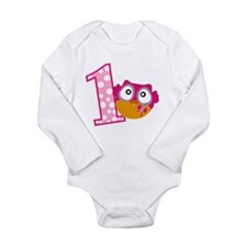 Cute Pink Owl Long Sleeve Infant Bodysuit