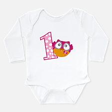 Cute Pink Owl Long Sleeve Infant Bodysuit
