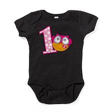 Cute Pink Owl Baby Bodysuit