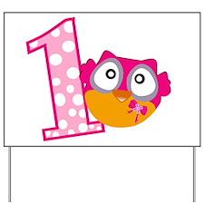 Cute Pink Owl Yard Sign
