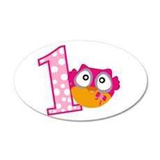 Cute Pink Owl 20x12 Oval Wall Decal