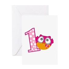 Cute Pink Owl Greeting Card