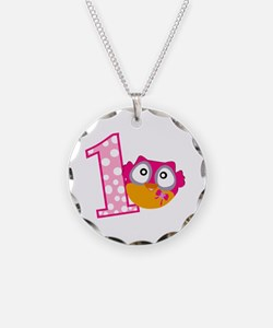 Cute Pink Owl Necklace Circle Charm