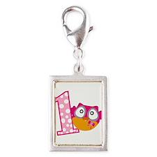 Cute Pink Owl Silver Portrait Charm