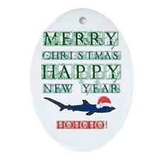 Santa Shark Oval Ornament