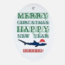 Santa Shark Oval Ornament