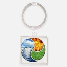 Four Elements Ying Yang Square Keychain