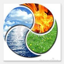"""Four Elements Ying Yang Square Car Magnet 3"""" x 3"""""""
