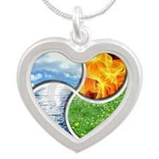 Four Elements Ying Yang Silver Heart Necklace