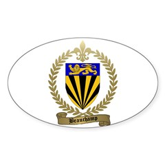 BEAUCHAMP Family Crest Oval Decal