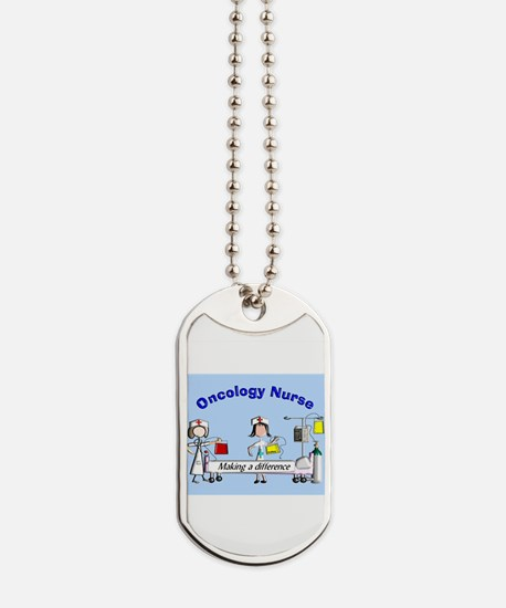 Oncology Nurse making a diff BLUE Dog Tags