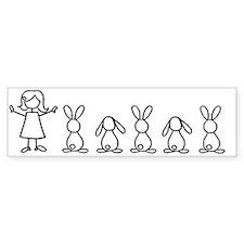 bunny family sticker Bumper Stickers