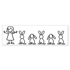5 bunnies family sticker (crazy bunny lady edition