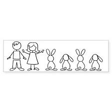 4 bunnies family sticker (2 lops 2 up ears) Bumper