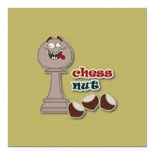 Chess Pawn, Chess Nut and Chestnuts Square Car Mag