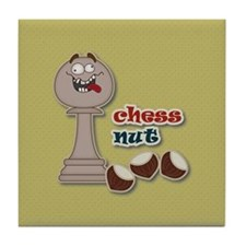 Chess Pawn, Chess Nut and Chestnuts Tile Coaster