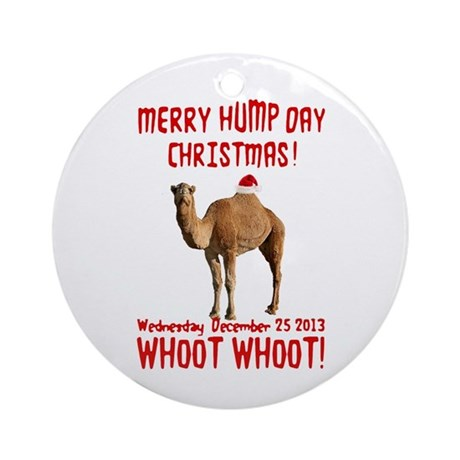 Merry Hump Day Camel Christmas Ornament (Round)