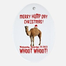 Merry Hump Day Camel Christmas Ornament (Oval)
