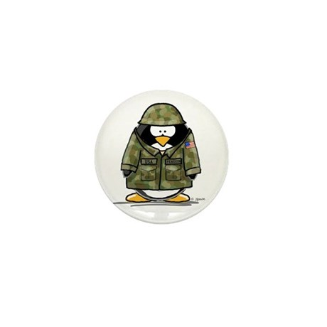 US Soldier Penguin Mini Button