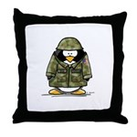 US Soldier Penguin Throw Pillow