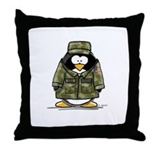 US Military Penguin Throw Pillow