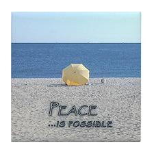 Yellow Beach Umbrella PEACE Tile Coaster