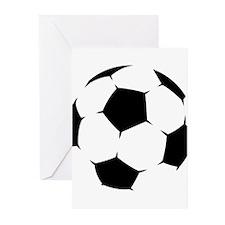 Black Soccer Ball Greeting Cards