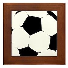 Black Soccer Ball Framed Tile