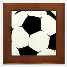 Black Soccer Ball Framed Tile