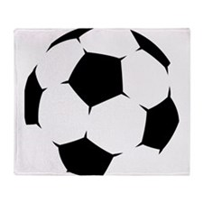 Black Soccer Ball Throw Blanket