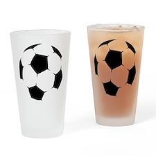 Black Soccer Ball Drinking Glass