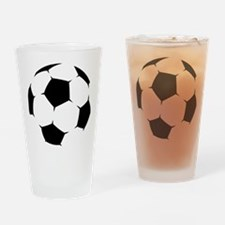 Black Soccer Ball Drinking Glass