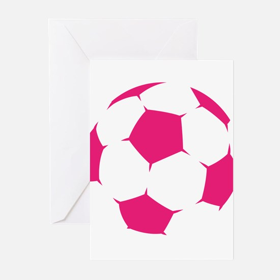 Pink Soccer Ball Greeting Cards