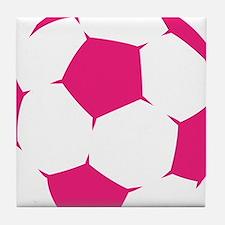 Pink Soccer Ball Tile Coaster