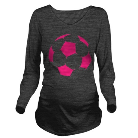 Pink Soccer Ball Long Sleeve Maternity T-Shirt